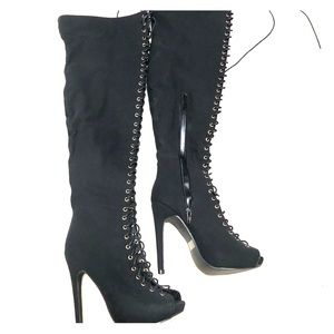 Above knee high heel lace up boots